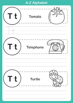 Exercício de az do alfabeto com vocabulário dos desenhos animados para colorir livro