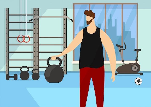 Exercício de caráter com haltere no ginásio