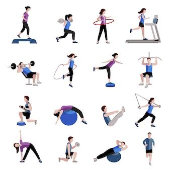 Exercício de cardio fitness e equipamentos para homens mulheres duas coleções de ícones planas de tintas