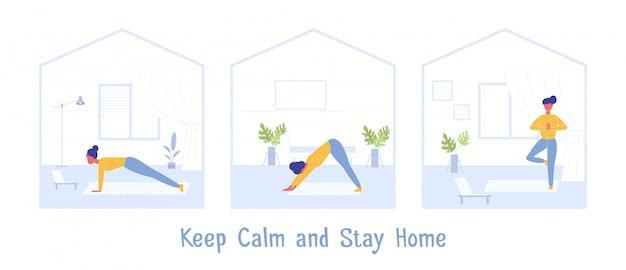 Exercício de esporte em casa. mantenha a calma durante a quarentena