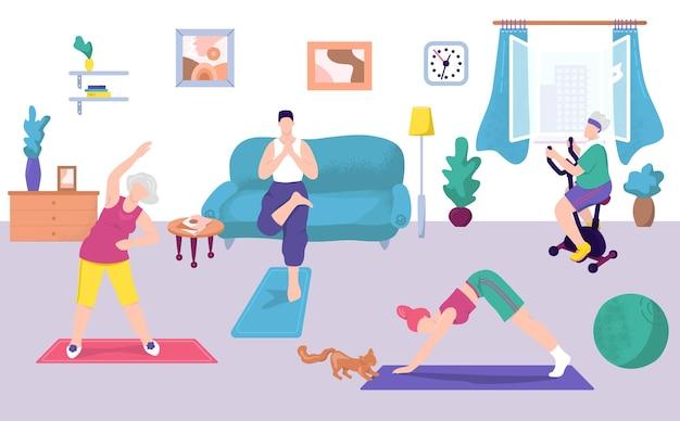 Exercício de fitness em casa, ilustração.