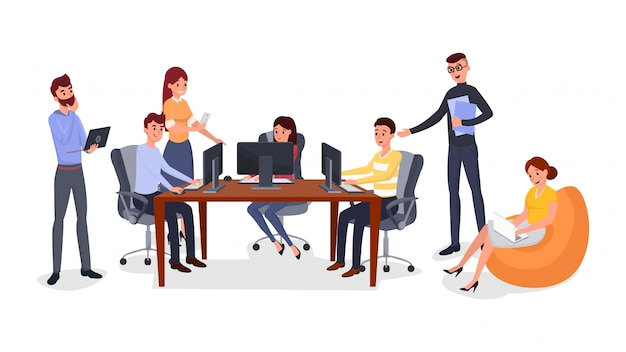 Exercício de formação de equipe de escritório