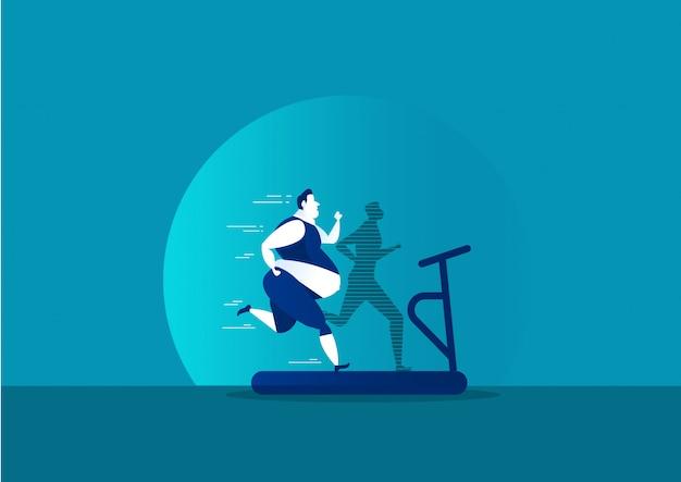 Exercício de homem com gordura, transformando-se em silhueta magro para a saúde