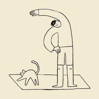 Exercício de homem durante doodle de elemento de quarentena de coronavírus