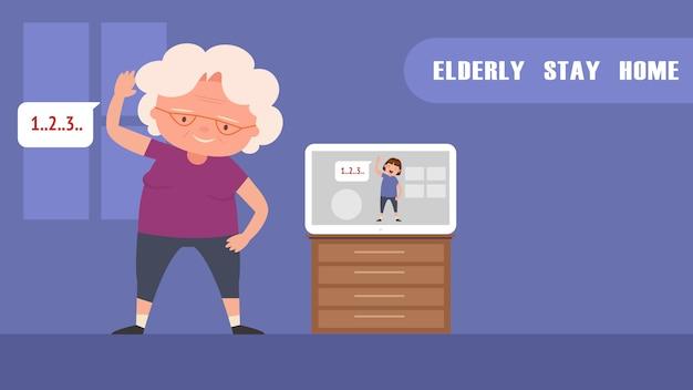 Exercício de idosos em casa.