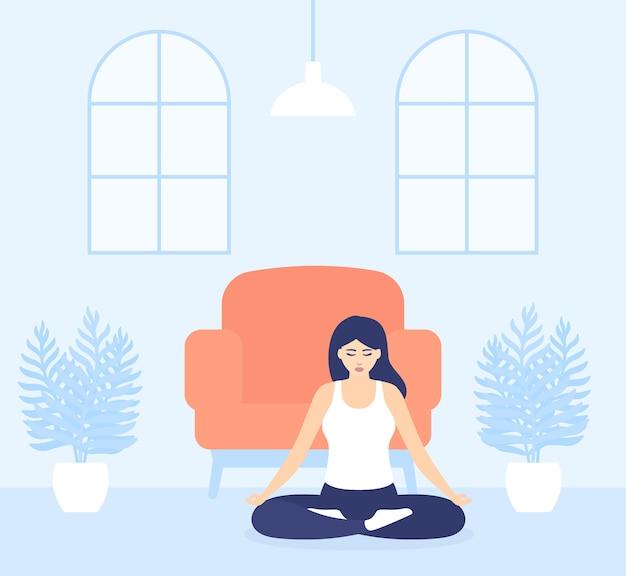 Exercício de ioga, menina medita em casa, fique atenta e positiva durante o distanciamento social e o auto-isolamento