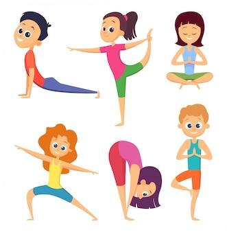 Exercício de ioga para crianças, pose de asana e meditação