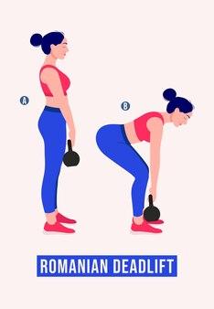 Exercício de levantamento terra romeno mulher malhação aeróbica e exercícios