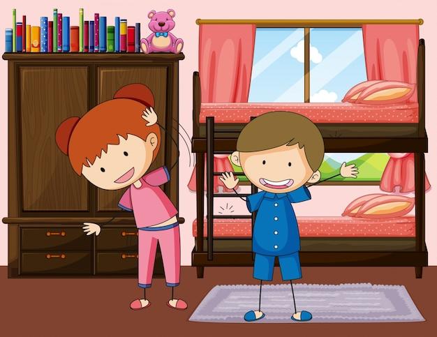 Exercício de menino e menina no quarto