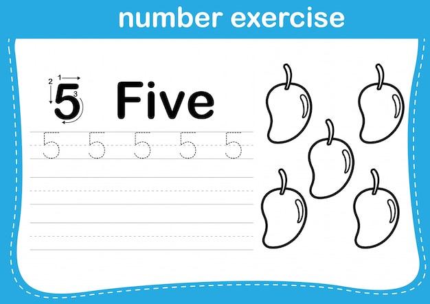 Exercício de número com desenhos animados para colorir a ilustração do livro