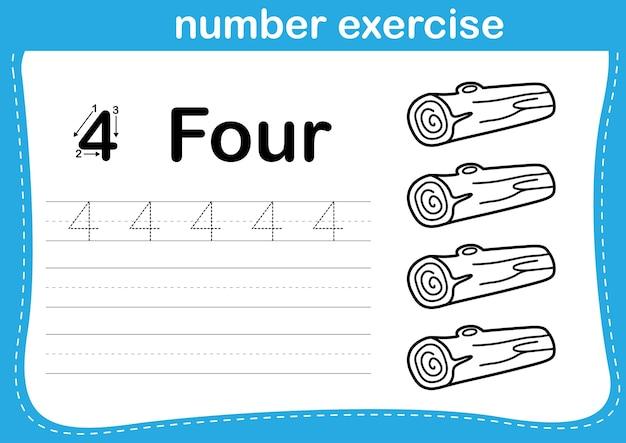 Exercício de número com ilustração de livro para colorir de desenho animado