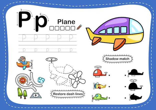 Exercício de plano p da letra do alfabeto com vocabulário de desenho animado