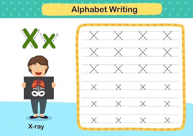 Exercício de raio letra xx do alfabeto com ilustração do vocabulário dos desenhos animados