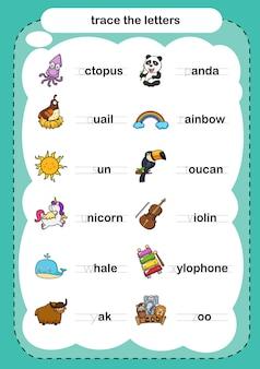 Exercício de traçar as letras