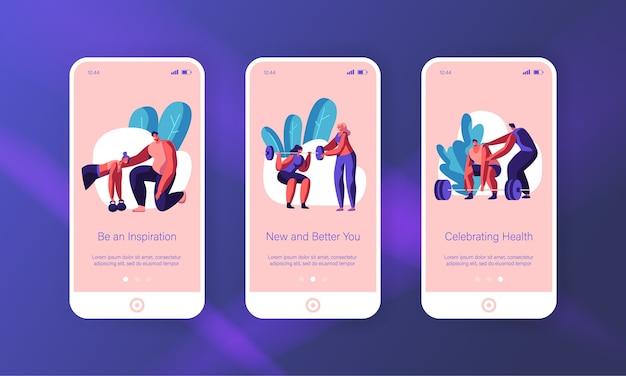 Exercício de treinamento de pessoas no conjunto de tela a bordo da página do aplicativo mobile gym