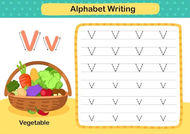 Exercício de v-vegetal de letra do alfabeto com ilustração de vocabulário dos desenhos animados