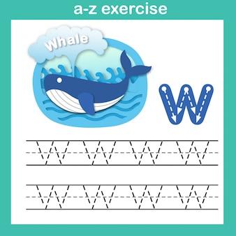 Exercício de w-baleia carta alfabeto, ilustração em vetor papel conceito cortado