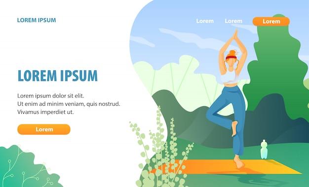 Exercício de yoga e descanso na página de aterragem com efeito de estufa