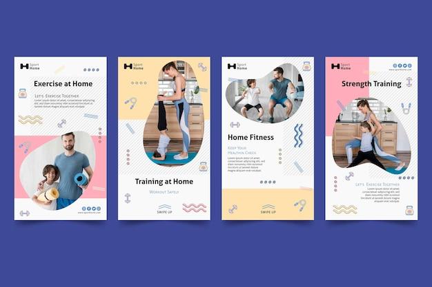 Exercício doméstico em modelo de histórias de mídia social familiar
