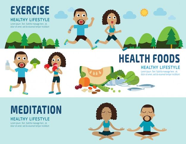 Exercício e alimentos saudáveis conceito elementos infográfico