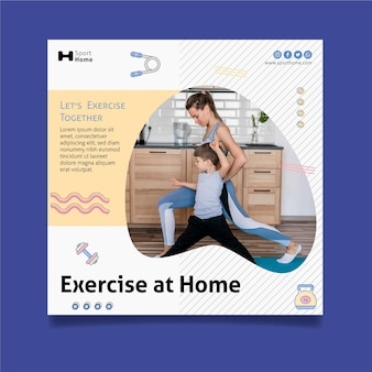 Exercício em casa em modelo de impressão de panfleto quadrado familiar