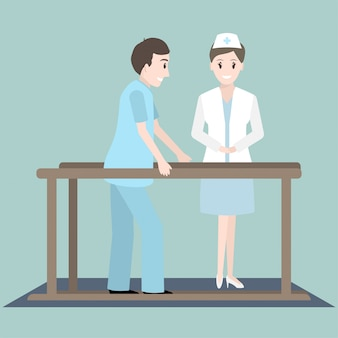 Exercício físico de reabilitação de paciente e enfermeiro