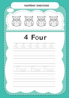 Exercício numérico com livro de colorir de desenho animado