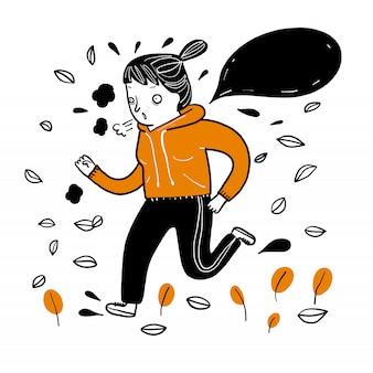 Exercício running da menina bonita no tempo frio no inverno.