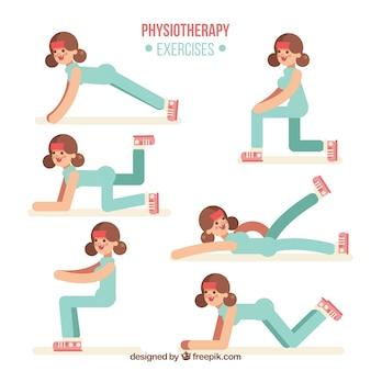 Exercícios de fisioterapia com design plano