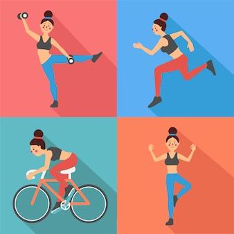 Exercícios de fitness mulher em estilo simples
