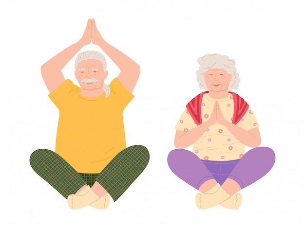Exercícios de ioga, homens e mulheres idosos cartoon ilustração estilo isolado no branco