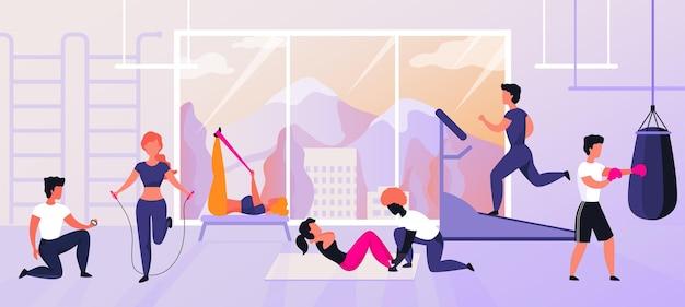 Exercícios na academia. personagens de desenhos animados fazendo atividades esportivas e conceito de treinamento, treino e fitness