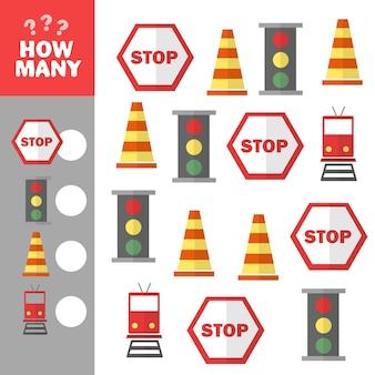 Exercícios para crianças. desenvolvimento de habilidades de contagem. jogo de contagem - sinais de trânsito. imagem vetorial.