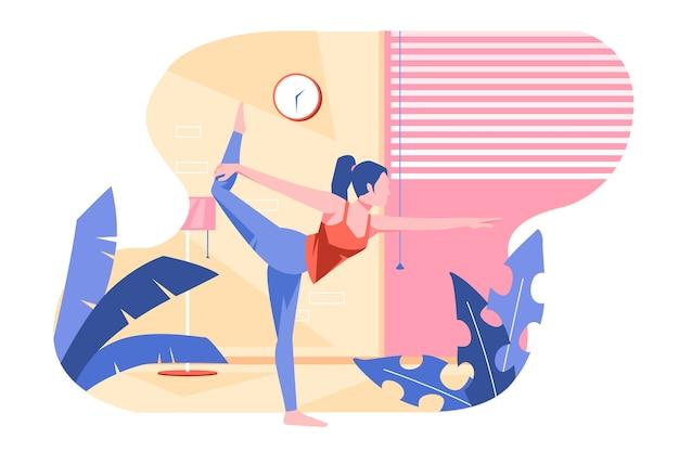 Exercitando dentro de casa conceito
