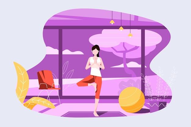 Exercitando em casa conceito