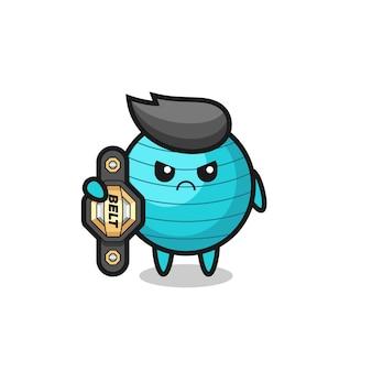 Exercite o personagem mascote da bola como um lutador de mma com o cinto de campeão, design de estilo fofo para camiseta, adesivo, elemento de logotipo
