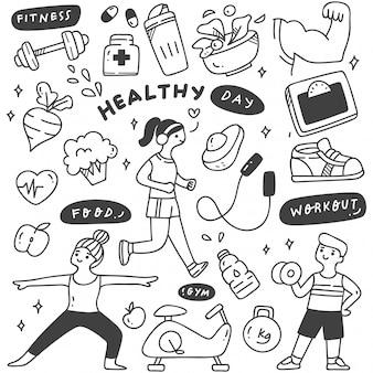 Exercite pessoas com alimentos e equipamentos