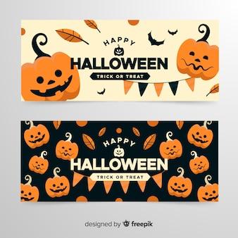 Exército de abóboras banners de halloween