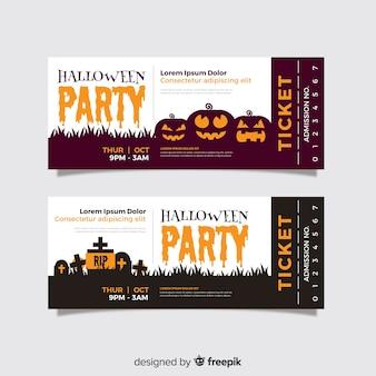 Exército de bilhetes de halloween plana de abóboras