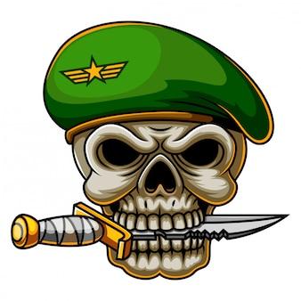 Exército de crânio de comando militar em boina