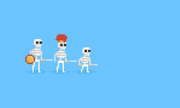 Exército de esqueleto de medievil de pixel