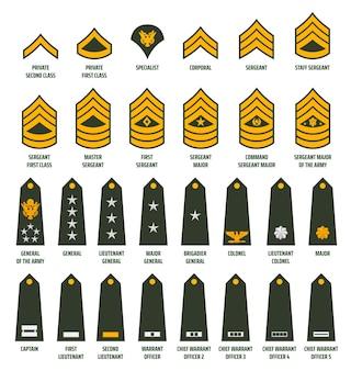 Exército dos eua alistou divisas e insígnias de fileiras