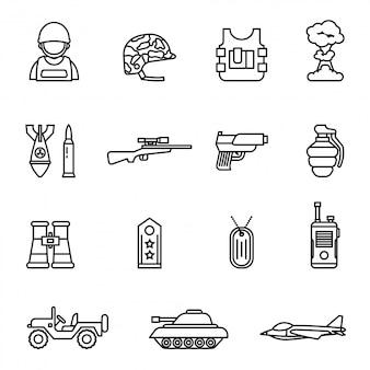 Exército e ícone militar definido com.