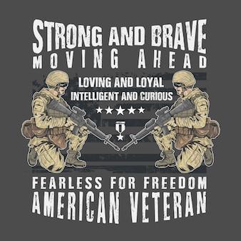 Exército veterano forte e corajoso