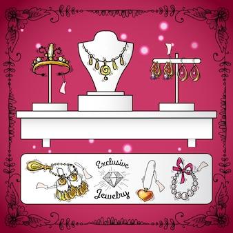 Exibição da loja de joias