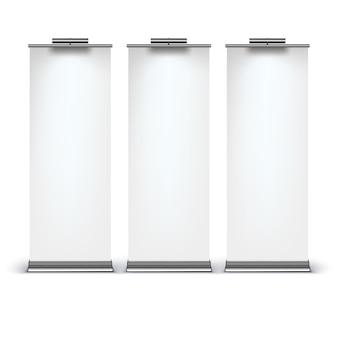 Exibição de banner de roll-up em branco sobre fundo branco