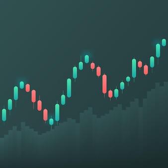 Exibição de cotações do mercado de ações. castiçal em um fundo branco.