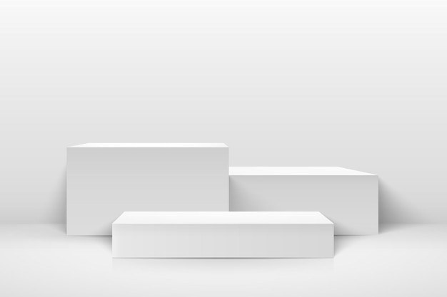 Exibição de cubo abstrato para produto no site moderno.
