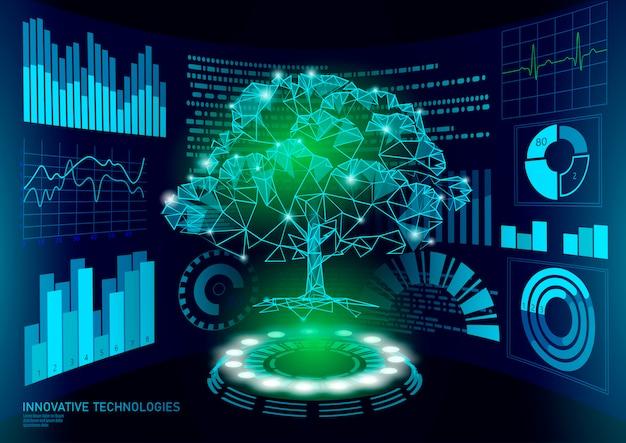 Exibição de hud ui de árvore poli baixa planta verde 3d. futuro triângulo poligonal ponto linha ecologia problemas solução biologia abstrata. ilustração de engenharia genoma tecnologia de negócios futuros