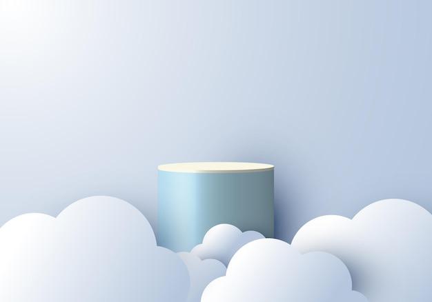 Exibição de pódio vazio de cena mínima abstrata realista 3d com estilo de corte de papel nublado no fundo do céu azul. design para apresentação de produto, maquete, etc. ilustração vetorial